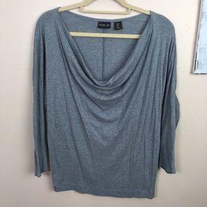 Rachel Zoe draped blouse, blue, stretchy, cotton